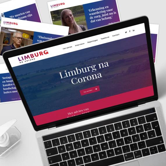 Website van Limburg na corona weergegeven op een laptop