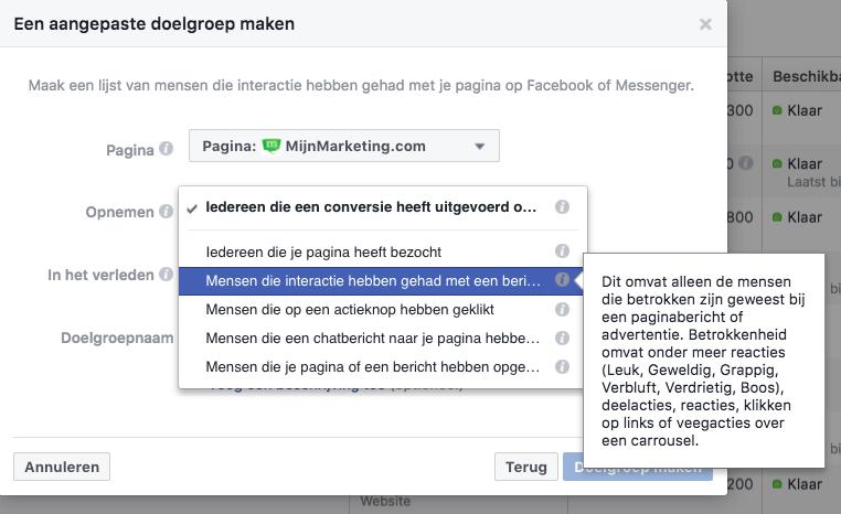 Facebook Aangepaste Doelgroep tips